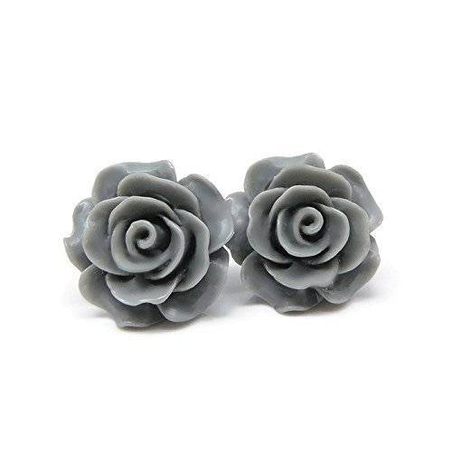 Large 20mm Grey Rose stud earrings on metal free plastic posts