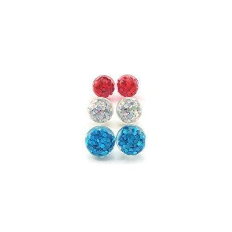 10mm Glitter Filled Bubble Earrings, Trio Gift Set, Metal Free Plastic Post or Invisible Clip On