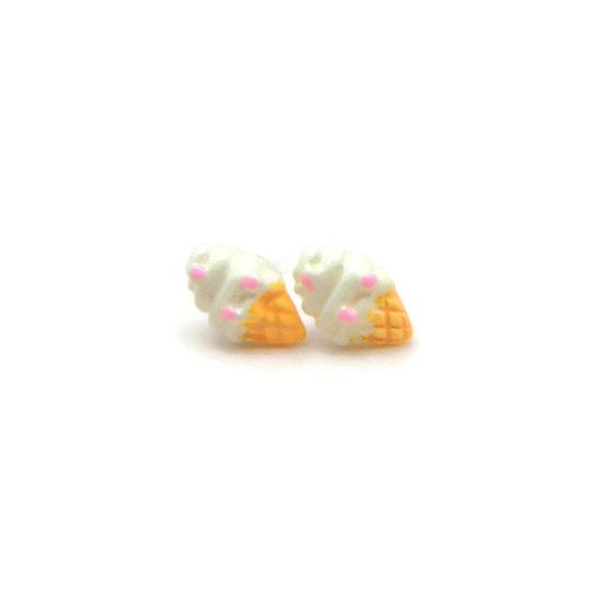 Plastic Post Earrings or Invisible Clip On Metal Free Soft Ice Cream Cone Studs, 10mm