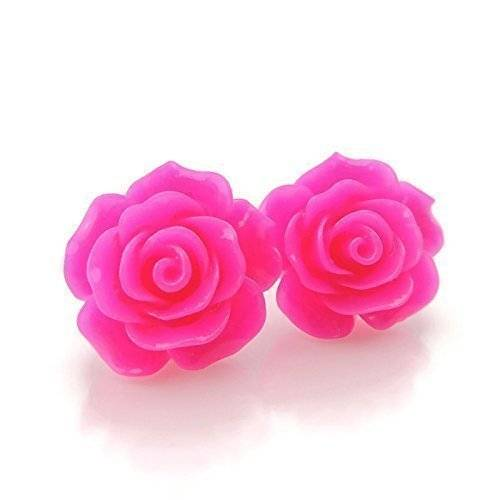 Large 20mm Bright Pink Rose stud earrings on metal free plastic posts