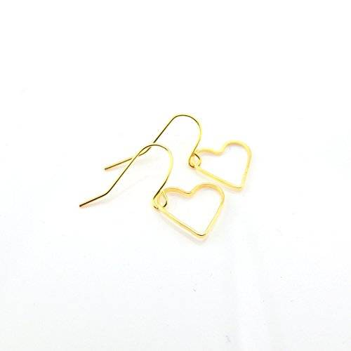 Dangle Earrings, Plastic Hook or Invisible Clip On, Open Heart Shape