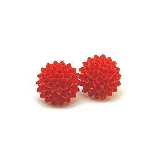 Metal Free red Dahlia Earrings on Plastic posts for sensitive ears