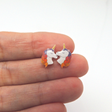 Plastic Post or Invisible Clip On Metal Free Rainbow Unicorn Earrings, 12mm