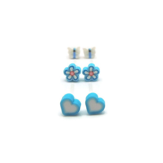 Gift Set, Tiny Polymer Clay Design Earrings Plastic Post or Invisible Clip On