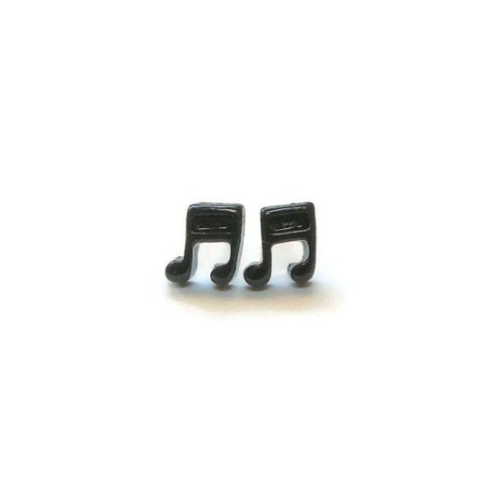Plastic Post Earrings or Invisible Clip On Metal Free Music Note Studs, 9mm