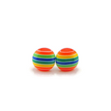 Plastic Post or Invisible Clip On Metal Free Earrings, Rainbow Stripe