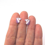 Plastic Post or Invisible Clip On Metal Free Purple Unicorn Earrings, 12mm