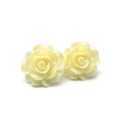 Large 20mm Ivory Rose stud earrings on metal free plastic posts