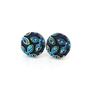plastic post earrings, floral, blue