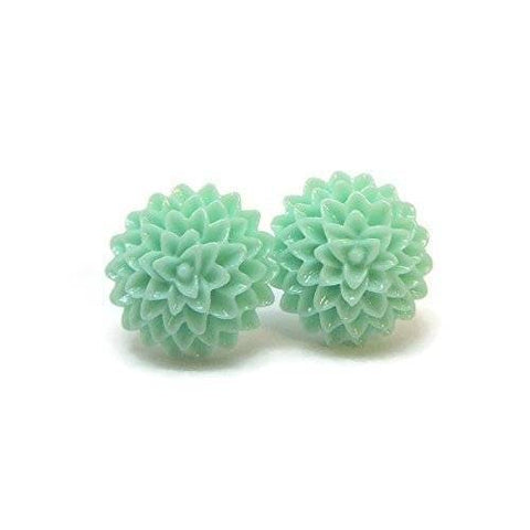 Metal Free aqua Dahlia Earrings on Plastic posts for sensitive ears