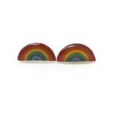 Plastic Post or Invisible Clip On Tiny Rainbow Earrings, 6mm