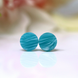 Plastic Post or Invisible Clip On Dainty Round Acrylic Earrings, 8mm