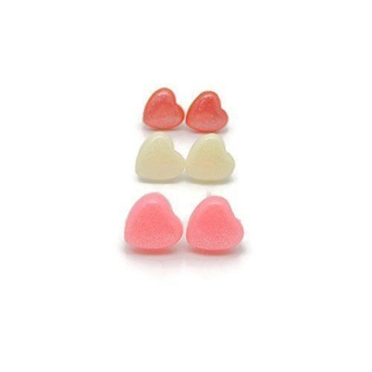 Plastic Posts or Invisible Clip On Metal Free Dainty Heart Earrings, 8mm