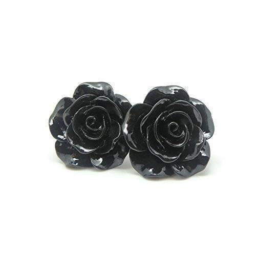 Large 20mm Black Rose stud earrings on metal free plastic posts