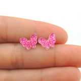 Plastic Post or Invisible Clip On Polkadot Butterfly Earrings