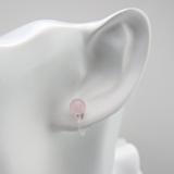 Plastic Post or Invisible Clip On Rose Quartz Stone Earrings, Metal Free