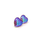 Plastic Post or Invisible Clip On Heart Shaped Mermaid Scale Earrings 12mm