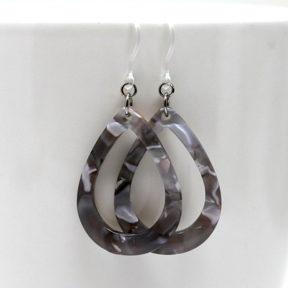 Invisible Clip On or Plastic Hooks Dangle Earrings Acetate Teardrop, 50mm