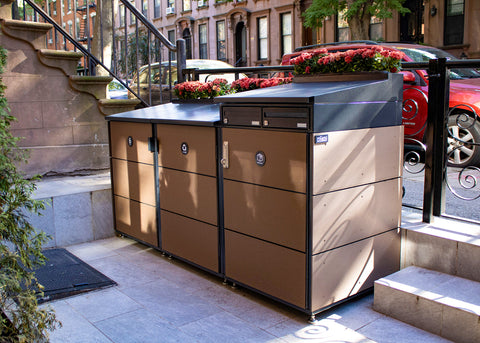 trash enclosure parcel locker mailbox planters