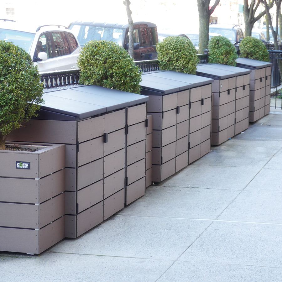 Modern planters with trash enclosure