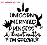 Unicorn, Mermaid, Princess Decal