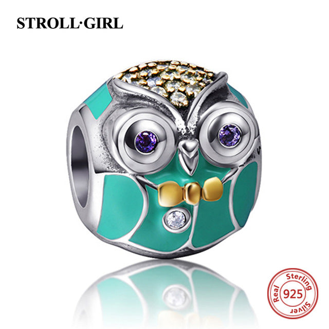 ac61b5ad9 Fit Authentic pandora Bracelet Silver 925 Original New Cute Animal Owl Cat  Charm Beads Sterling-Silver