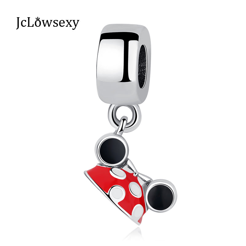 2d4ae1aed Authentic 925 Sterling Silver Charm Bead Cute Mouse Red Enamel Pendant Charms  Fit Original Pandora Bracelets