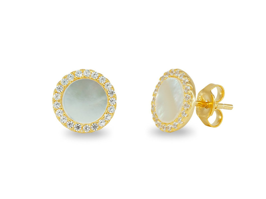Circle Mother Of Pearl Stud Earrings in Gold Plated Silver - Vera jewelry