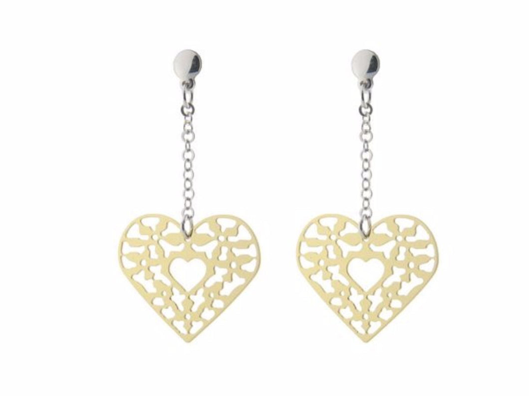 Sterling Silver Earrings Dangling Gold Plated  Filigree Heart  2