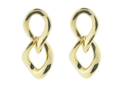 Electroformed Polished Gold Plated Italian Links Earrings - Vera jewelry