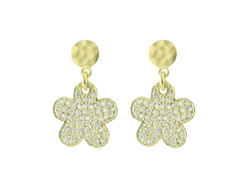 Sparkling Pave Cz Daisy Earrings in Gold Plated Sterling Silver, 15mm - Vera jewelry