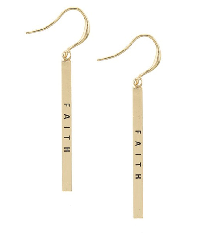 Faith Gold Bar w/ 14k Gold Filled Earring Hooks - Vera jewelry
