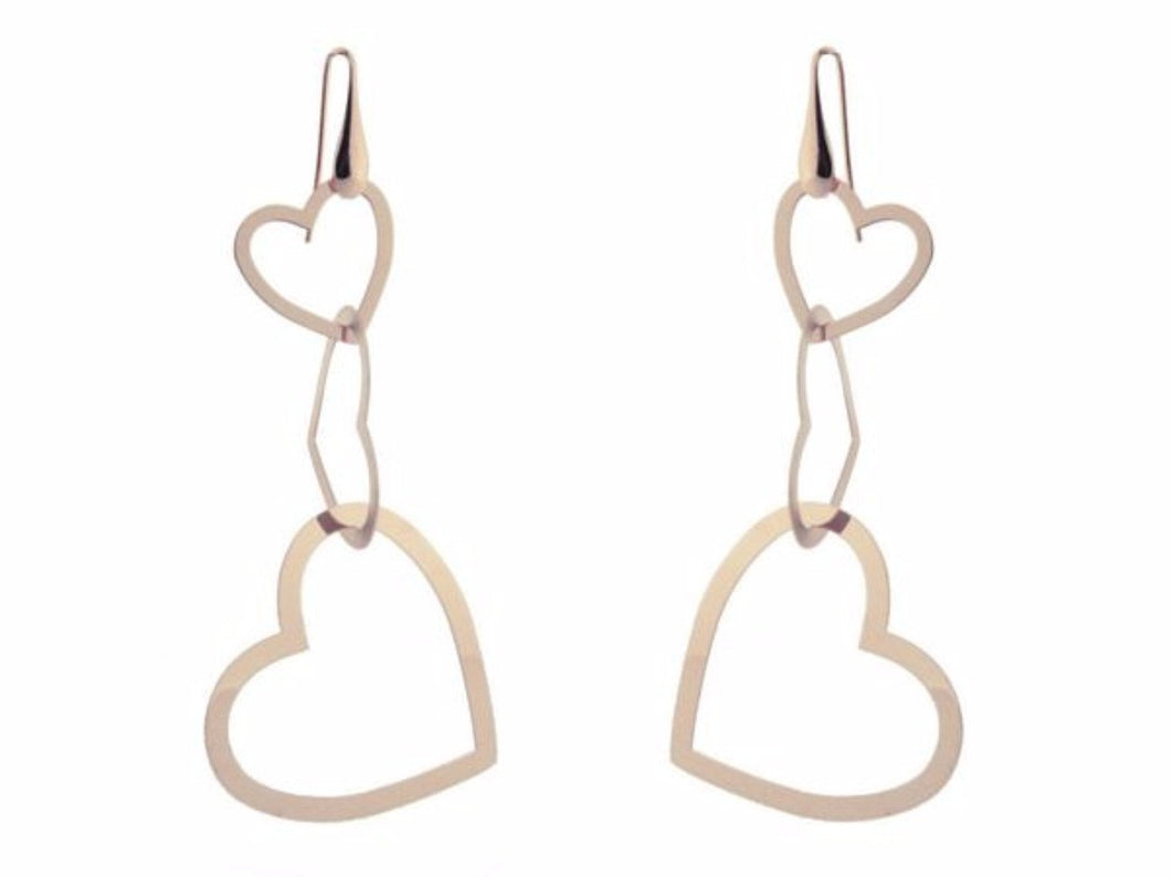 Rose Gold Plated Sterling Silver Dangling Silhouette Heart Earrings, 3