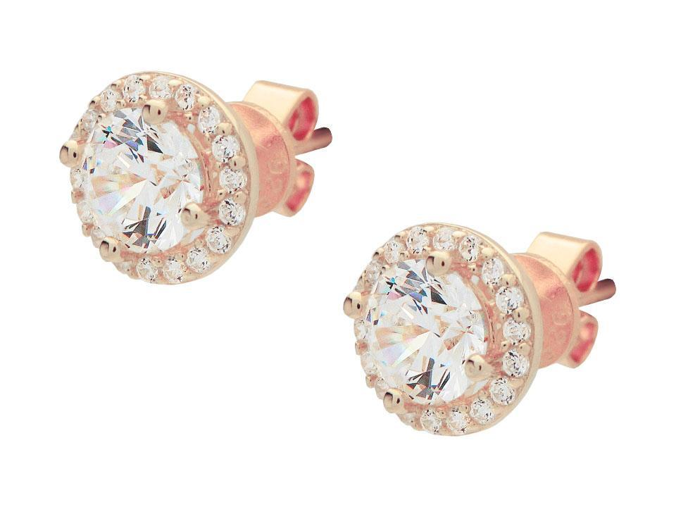 Micro Pave CZ Heart Stud Earrings in Rose Gold Plated Silver, 7mm - Vera jewelry