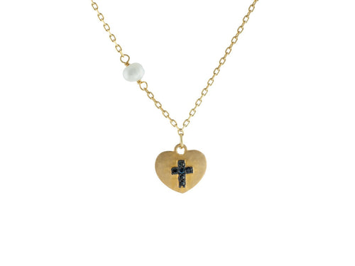 14k Gold Plated Silver Satin Heart w/ engraved Black Cross & Dangling Pearl Necklace, 15.5