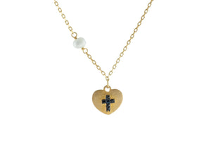 "14k Gold Plated Silver Satin Heart w/ engraved Black Cross & Dangling Pearl Necklace, 15.5"" - Vera jewelry"