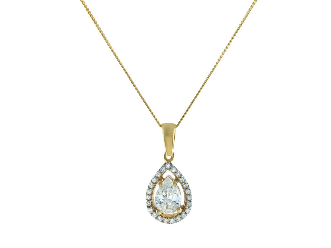 Gold Plated Sterling Silver Antique Marquise CZ Charm Chain Necklace - Vera jewelry