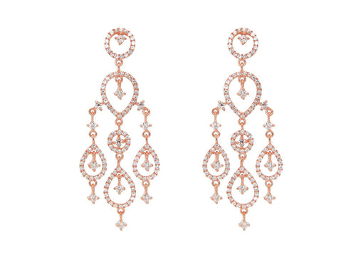 Rose Gold Plated Sterling Silver Dangling Chandelier Imitation Diamond Earrings - Vera jewelry