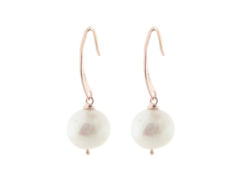 Rose Gold Silver Flat Hook Pearl Earrings - Vera jewelry