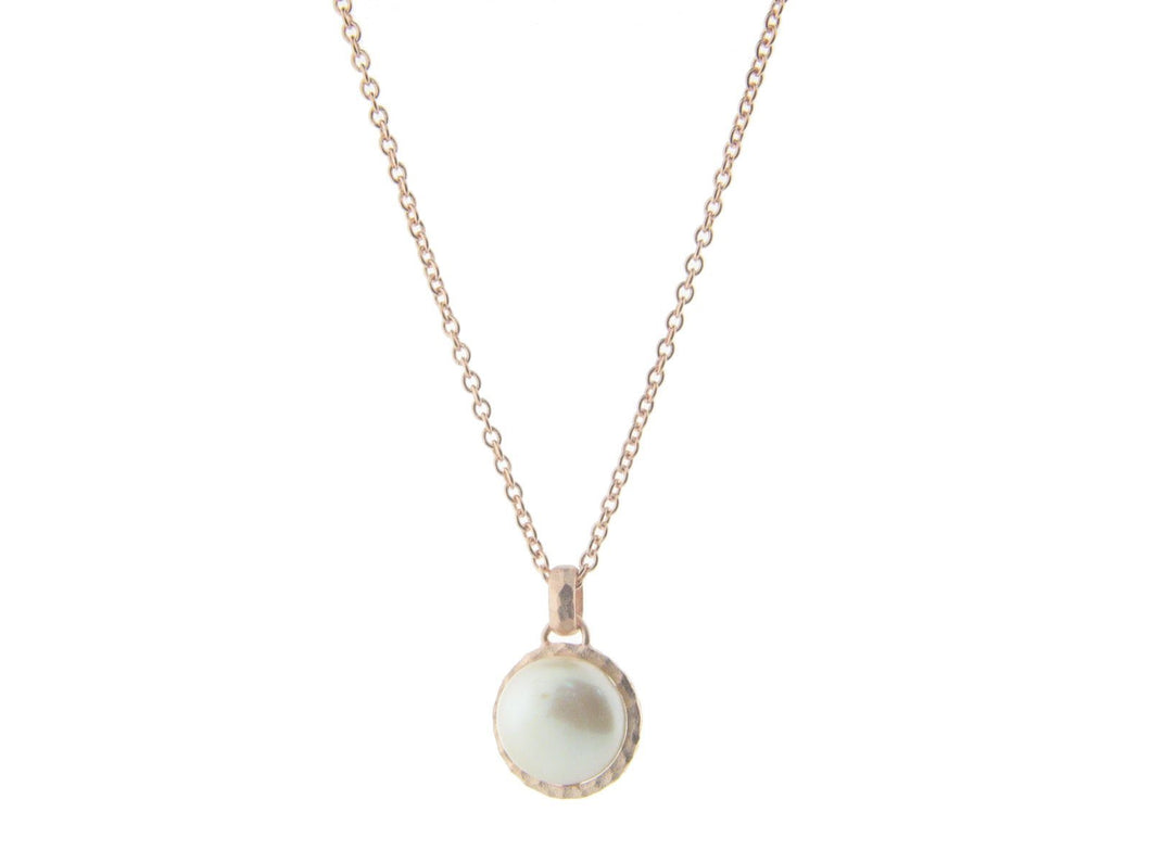 Hammered Rose Gold Tone Freshwater Coin Pearl Pendant Necklace, 16