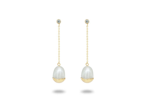 Gold Capped Pearl Drop Earrings - Vera jewelry