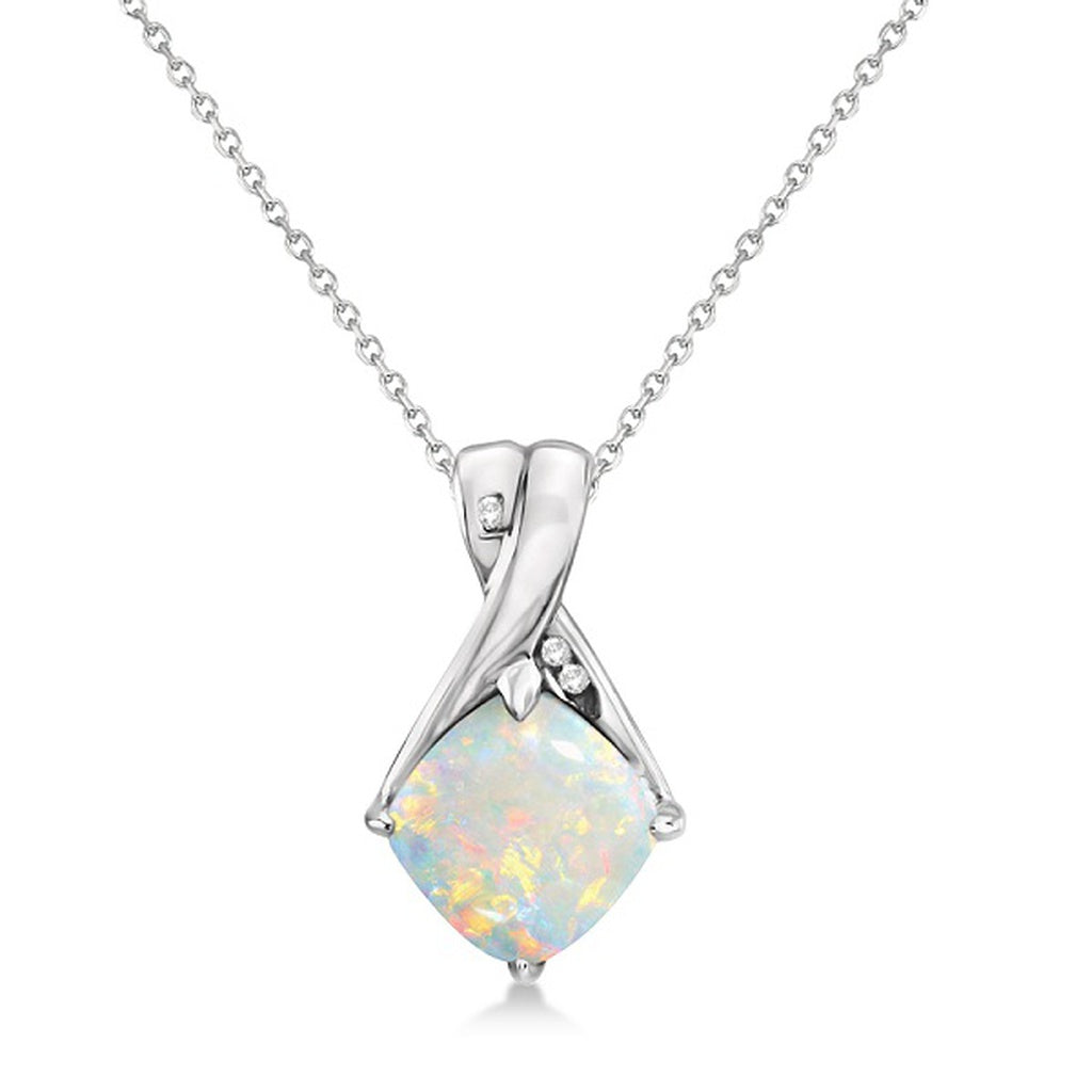 Diamond and Cushion Opal Pendant Necklace 14k White Gold (1.36ct) - Vera jewelry