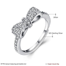 925 Sterling Silver Ring Bow AAA Crystal S925 Solid Silver Ring - Vera jewelry