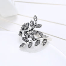 Turely 925 Sterling Silver Leaves Rings Plant Finger Jewelry With Clear CZ Zircon - Vera jewelry
