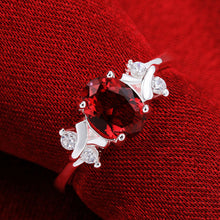Silver Genuine Austrian Zircon Red Crystal Gem Finger anel Rings - Vera jewelry