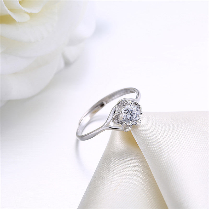 Charm Women Ring Real Solid 925 Sterling Silver Rings Prong 5 Single Zirconia Changeable Size Princess Cut - Vera jewelry