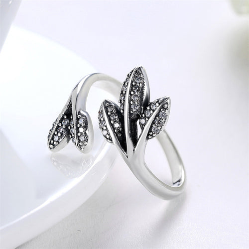 925 Sterling Silver Leaves Rings With Clear Crystal Adjustable Open Ring - Vera jewelry