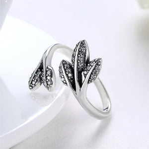 925 Sterling Silver Leaves Rings With Clear Crystal Adjustable Open Ring