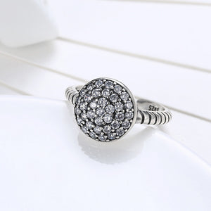 Authentic 925 Sterling Silver Open Rings For Women Round Big Zircon - Vera jewelry