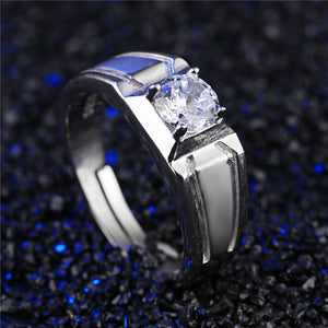Domineering 925 Sterling Silver Jewelry For Men Finger Zircon Wide Version - Vera jewelry